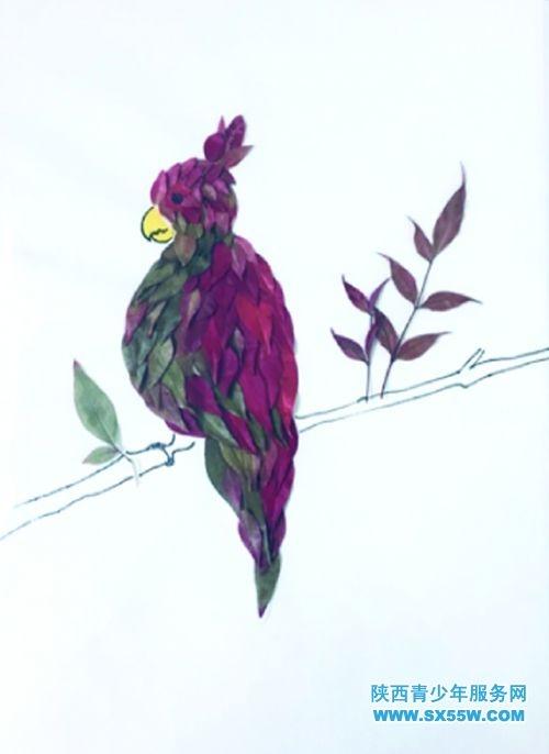 树叶贴画《鹦鹉》图片