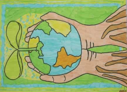 儿童画《地球有了绿色》
