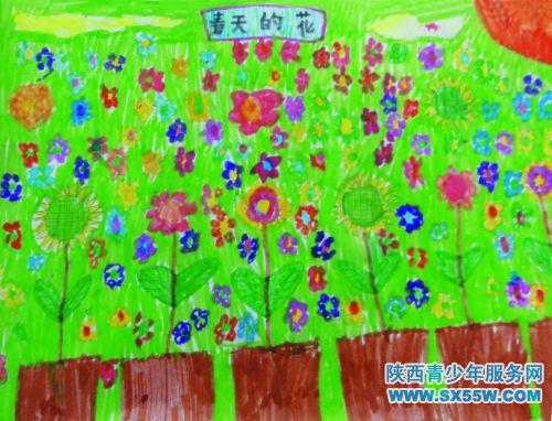 儿童画《春天的花》