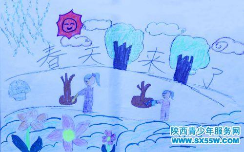 儿童画《春天来了》
