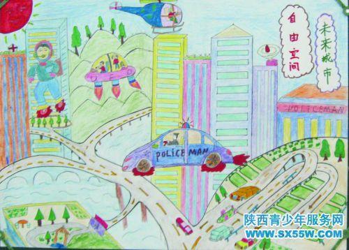 科幻画《未来城市》 作者:高浩轩-未来城市