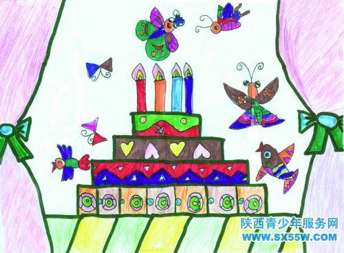 儿童画《生日蛋糕》