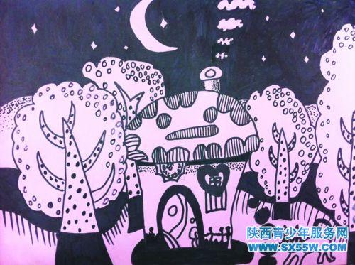 绘画《美丽的夜晚》