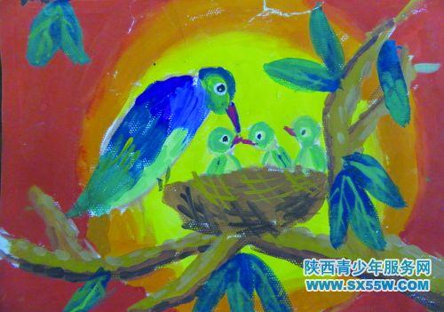 儿童画《母爱》