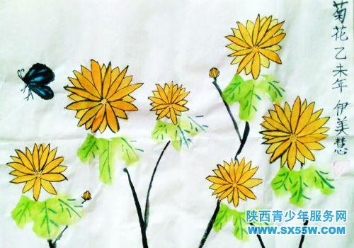 水粉画 菊花
