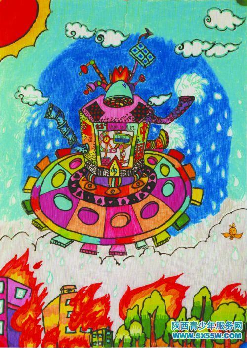 科幻画《智能环保降雨机》图片