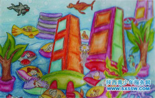 儿童海洋科幻画展示图片