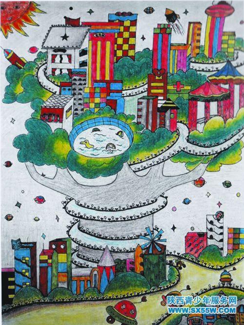 科幻画《树中的城市》