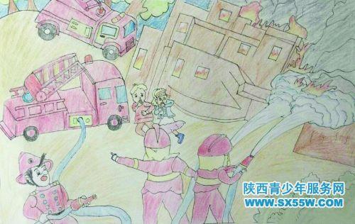 绘画《和谐消防手拉手》