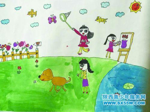 快乐的一天儿童画图片