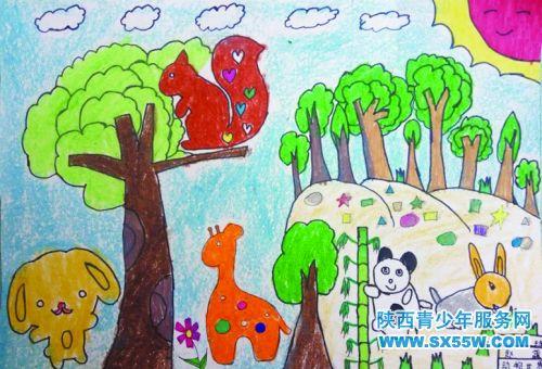 祖国地图儿童画动物