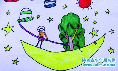 儿童太空星球科幻画作品分享展示图片